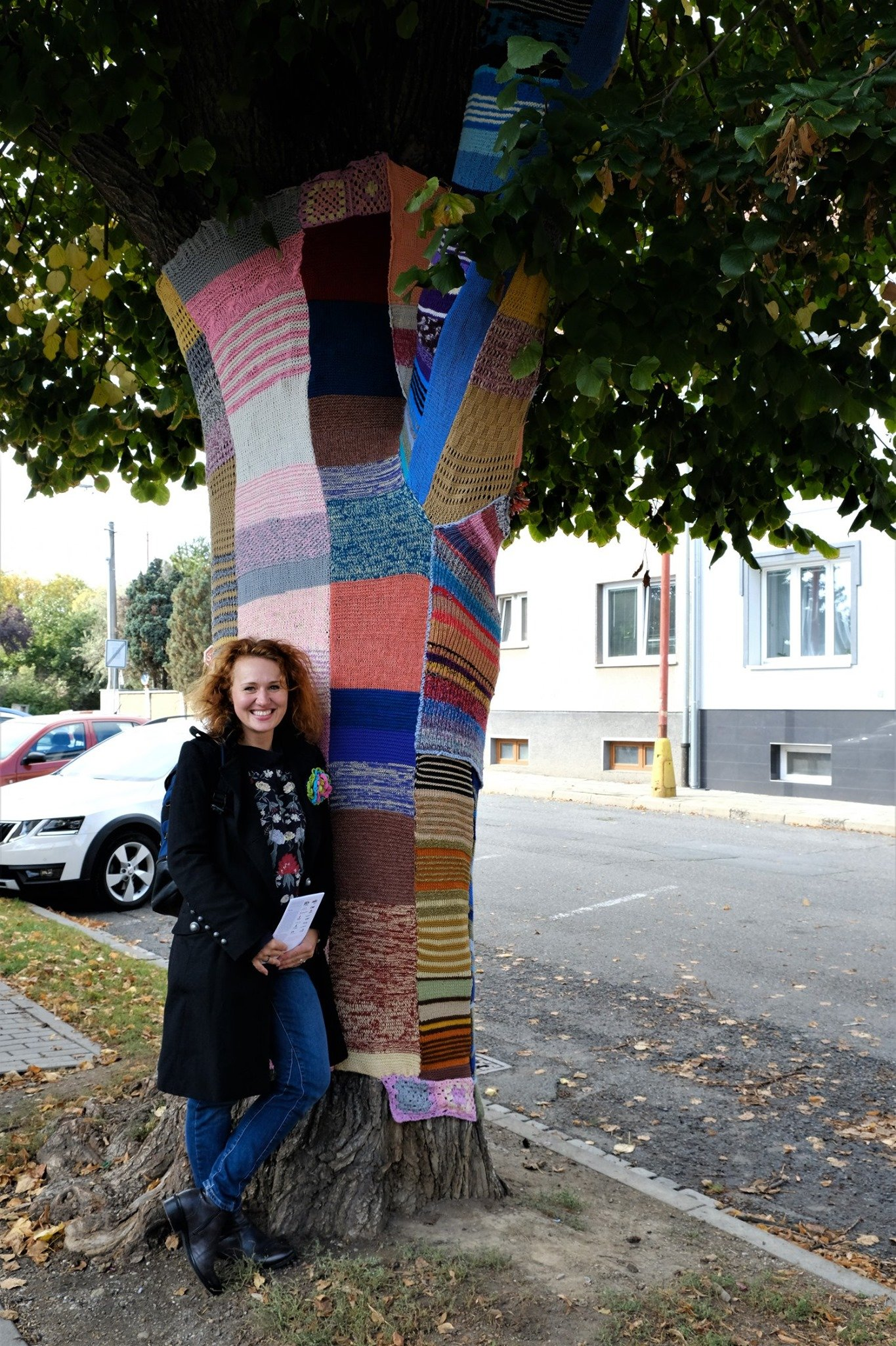 Tree dressed in a knit scarfs which were knitted in a local cafes in Uherské Hradiště.